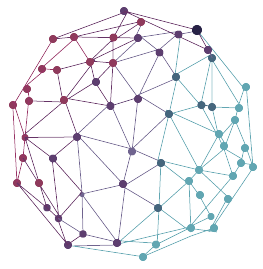 Sphere connected with colored dots